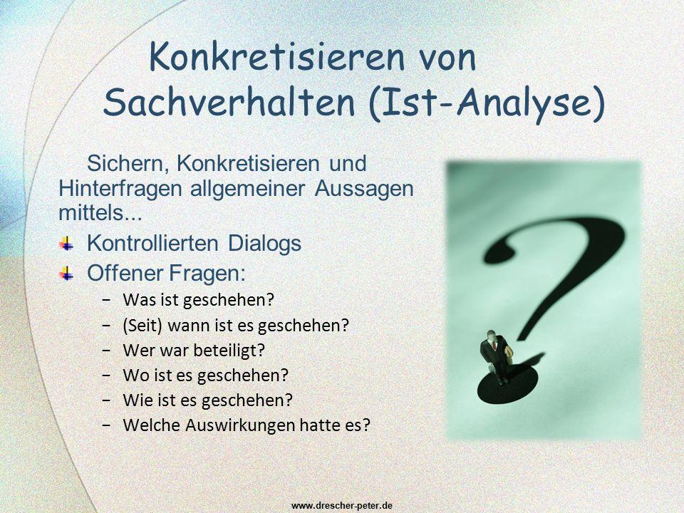 Konkretisieren von Sachverhalten (Ist-Analyse) Sichern, Konkretisieren und Hinterfragen allgemeiner Aussagen mittels... Kontrollierten Dialogs Offener