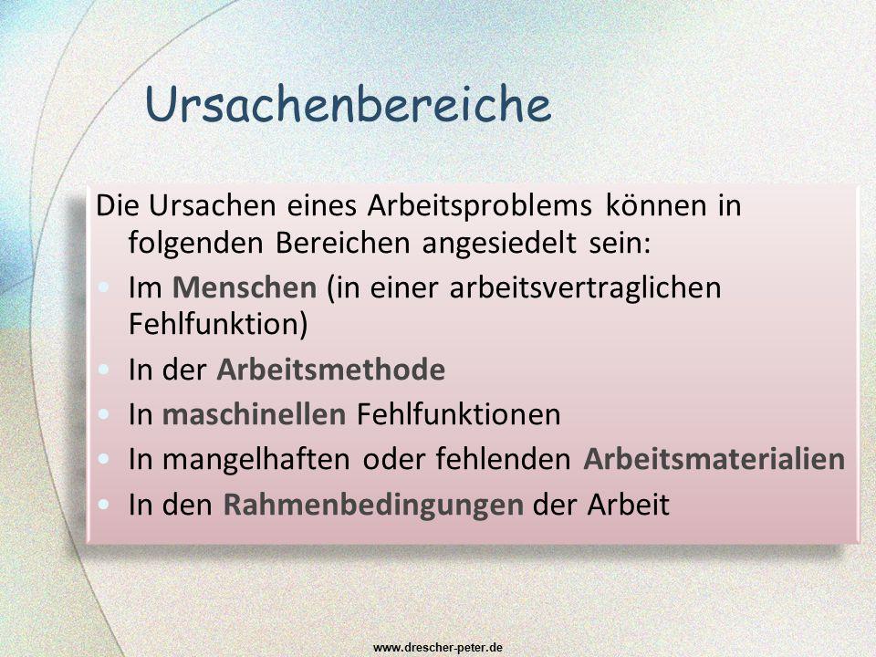 Ursachenbereiche Die Ursachen eines Arbeitsproblems können in folgenden Bereichen angesiedelt sein: Im Menschen (in einer arbeitsvertraglichen Fehlfun