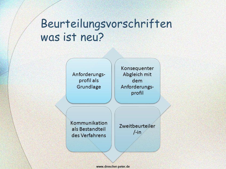 Beurteilungsvorschriften was ist neu? Anforderungs- profil als Grundlage Konsequenter Abgleich mit dem Anforderungs- profil Kommunikation als Bestandt