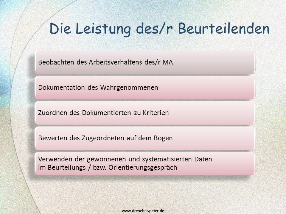 Gesprächskultur des Beurteilungswesens Orientierungsgespräche (auch als MVG) BeurteilungsgesprächeKoordinierungsgespräche Konsensgespräche zwischen Erst- und Zweitbeurteiler/-innen www.drescher-peter.de