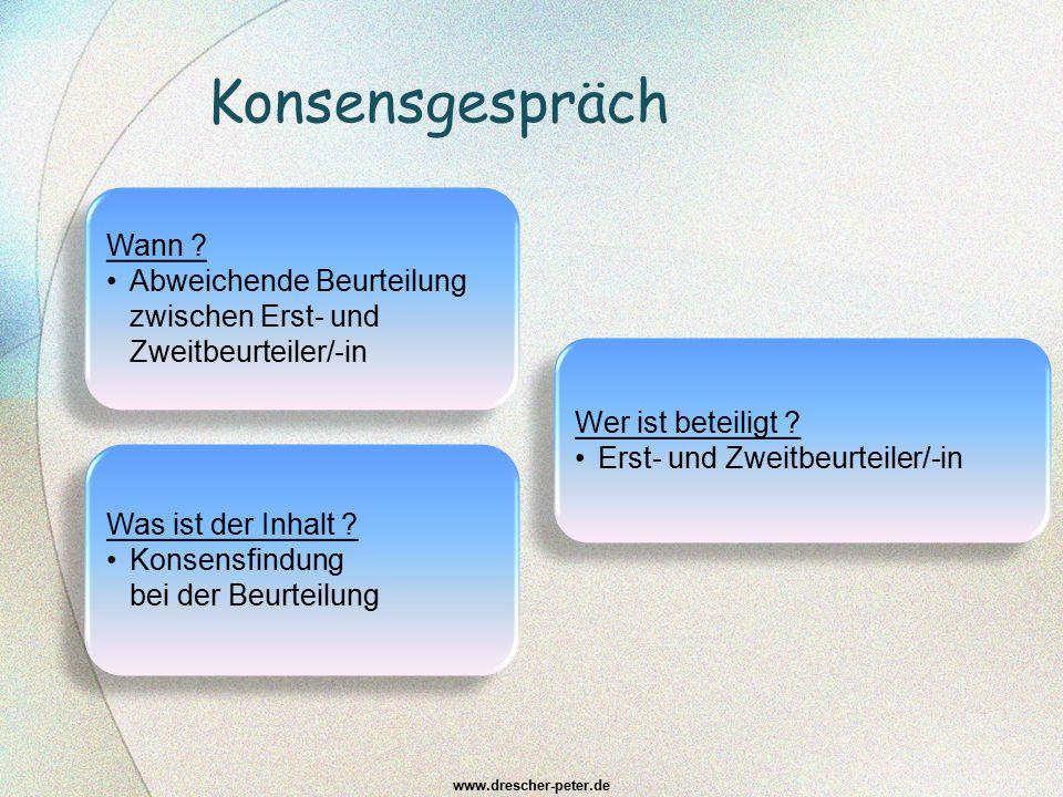Konsensgespräch www.drescher-peter.de Was ist der Inhalt ? Konsensfindung bei der Beurteilung Was ist der Inhalt ? Konsensfindung bei der Beurteilung