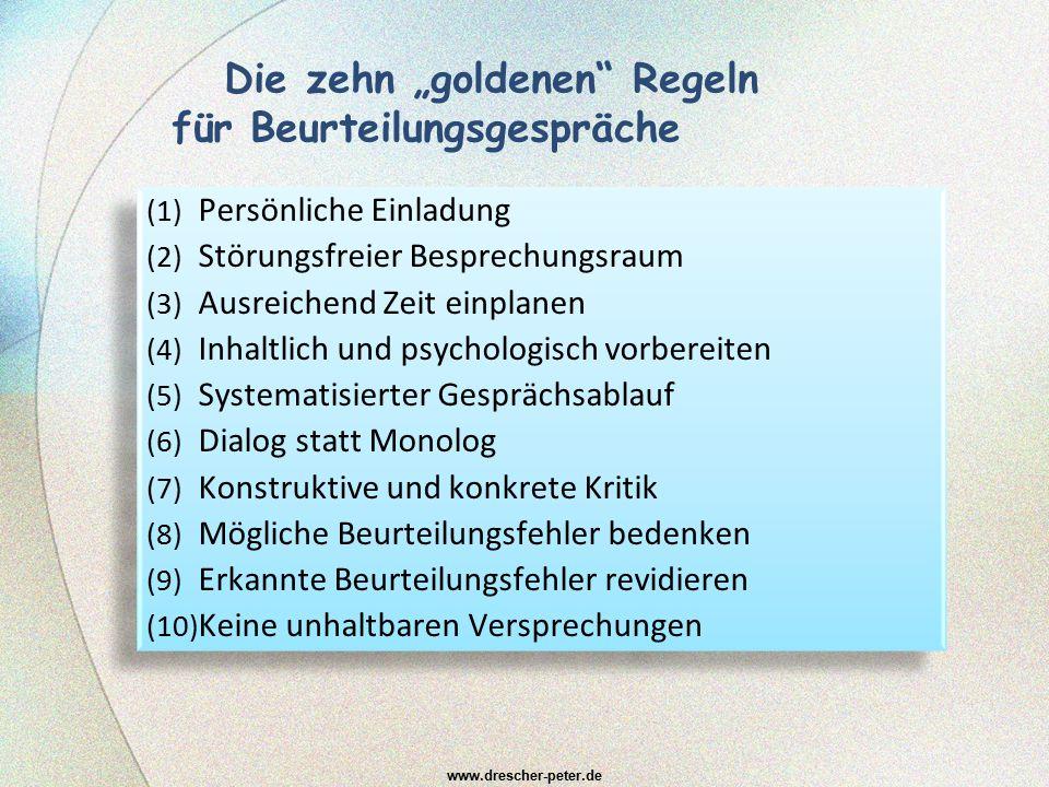 """Die zehn """"goldenen"""" Regeln für Beurteilungsgespräche (1) Persönliche Einladung (2) Störungsfreier Besprechungsraum (3) Ausreichend Zeit einplanen (4)"""