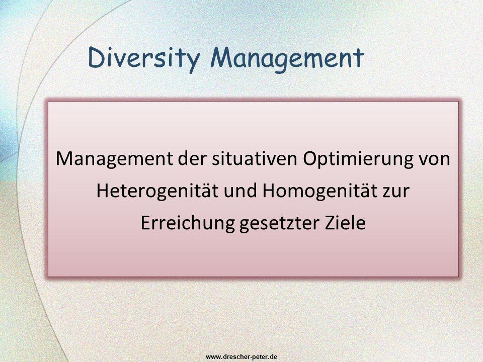 Diversity Management Management der situativen Optimierung von Heterogenität und Homogenität zur Erreichung gesetzter Ziele www.drescher-peter.de