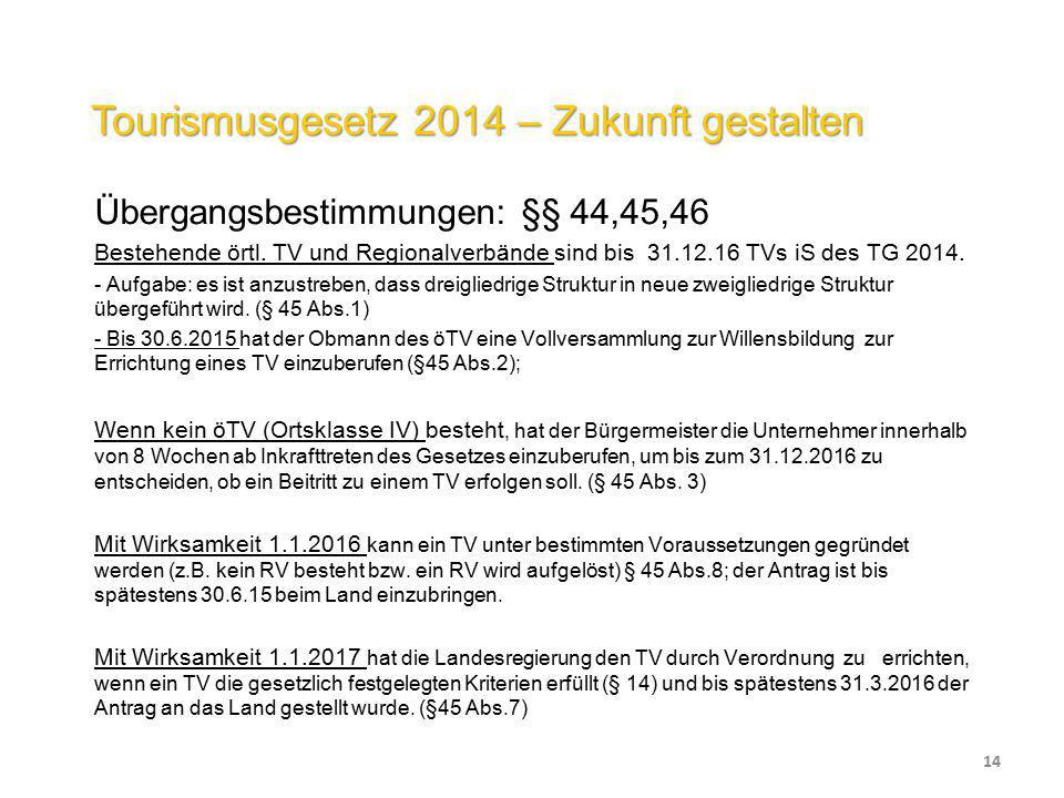Tourismusgesetz 2014 – Zukunft gestalten Übergangsbestimmungen: §§ 44,45,46 Bestehende örtl. TV und Regionalverbände sind bis 31.12.16 TVs iS des TG 2
