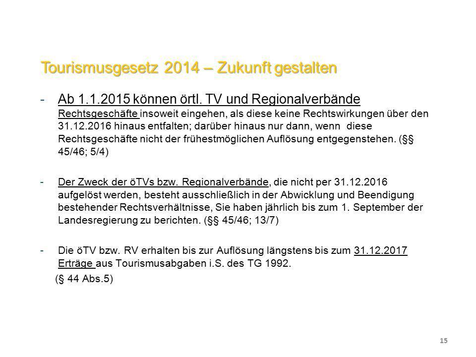 Tourismusgesetz 2014 – Zukunft gestalten -Ab 1.1.2015 können örtl. TV und Regionalverbände Rechtsgeschäfte insoweit eingehen, als diese keine Rechtswi