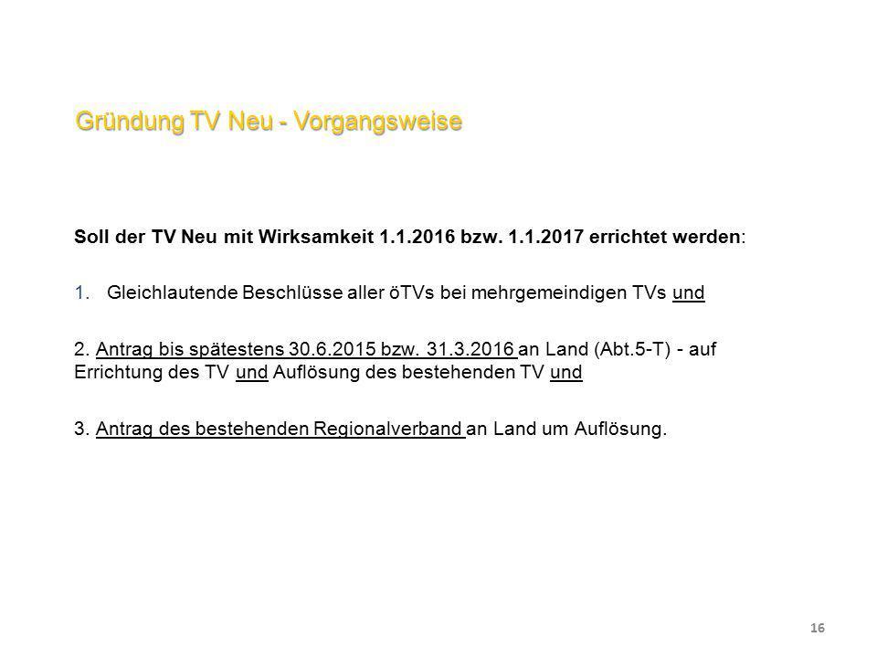 Gründung TV Neu - Vorgangsweise Soll der TV Neu mit Wirksamkeit 1.1.2016 bzw. 1.1.2017 errichtet werden:  Gleichlautende Beschlüsse aller öTVs bei m