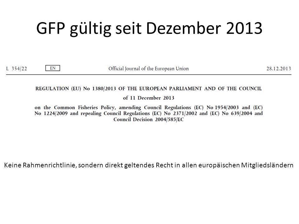 GFP gültig seit Dezember 2013 Keine Rahmenrichtlinie, sondern direkt geltendes Recht in allen europäischen Mitgliedsländern