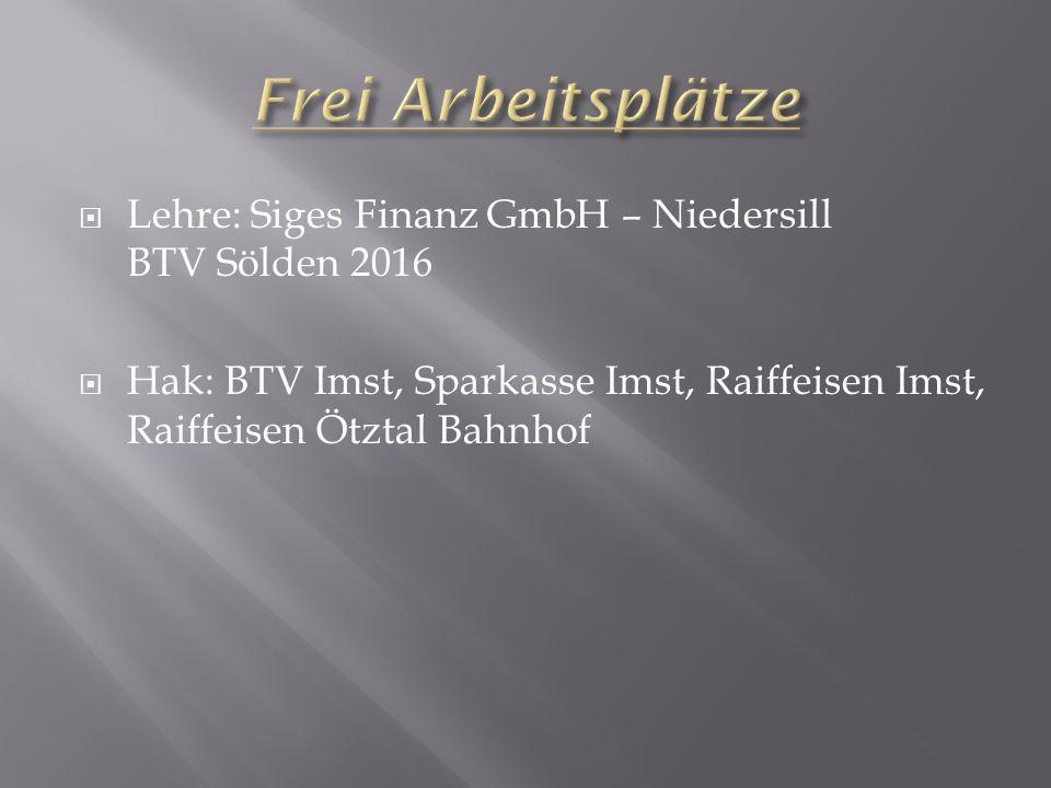  Lehre: Siges Finanz GmbH – Niedersill BTV Sölden 2016  Hak: BTV Imst, Sparkasse Imst, Raiffeisen Imst, Raiffeisen Ötztal Bahnhof