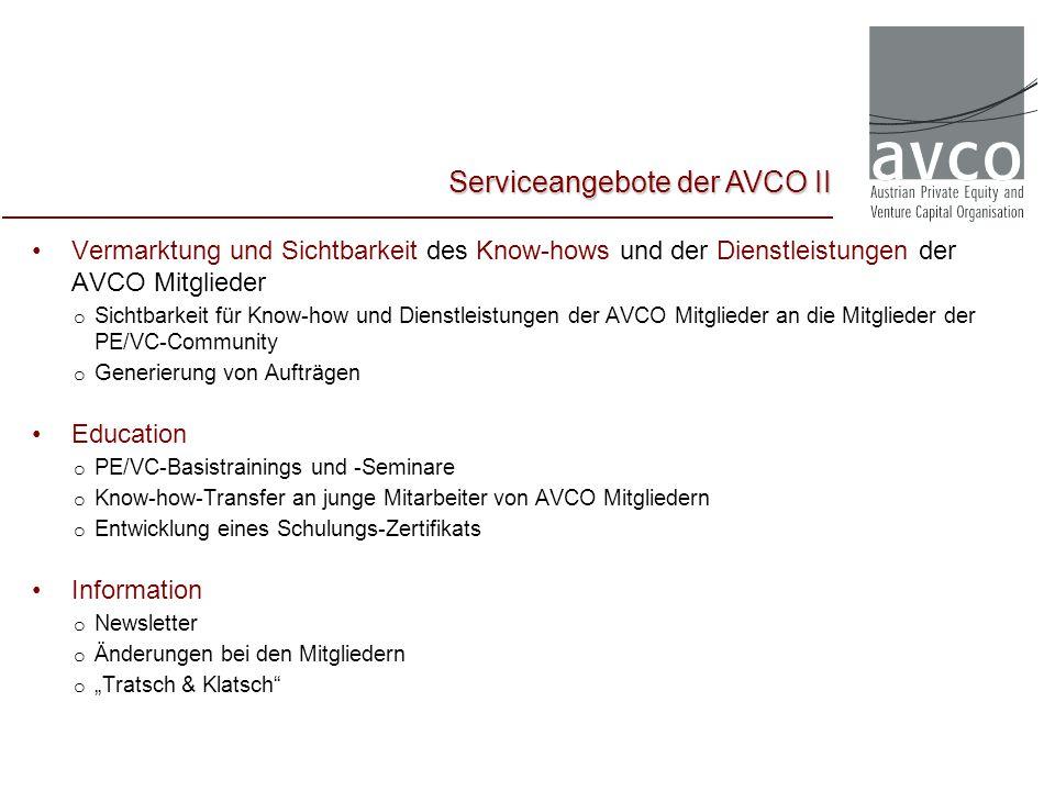 Vermarktung und Sichtbarkeit des Know-hows und der Dienstleistungen der AVCO Mitglieder o Sichtbarkeit für Know-how und Dienstleistungen der AVCO Mitg