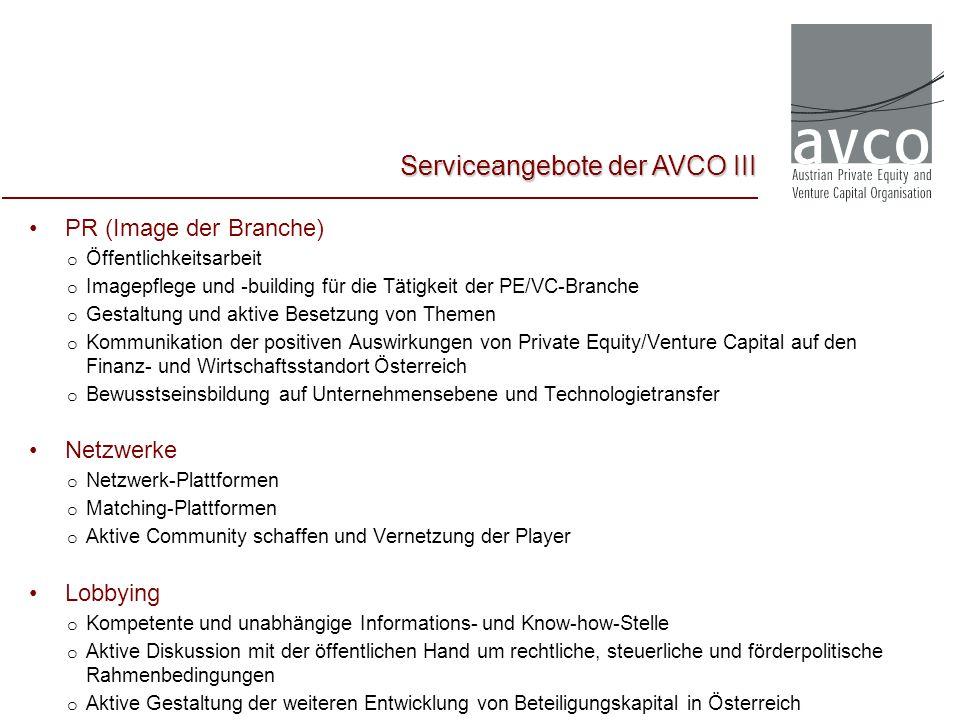 PR (Image der Branche) o Öffentlichkeitsarbeit o Imagepflege und -building für die Tätigkeit der PE/VC-Branche o Gestaltung und aktive Besetzung von T