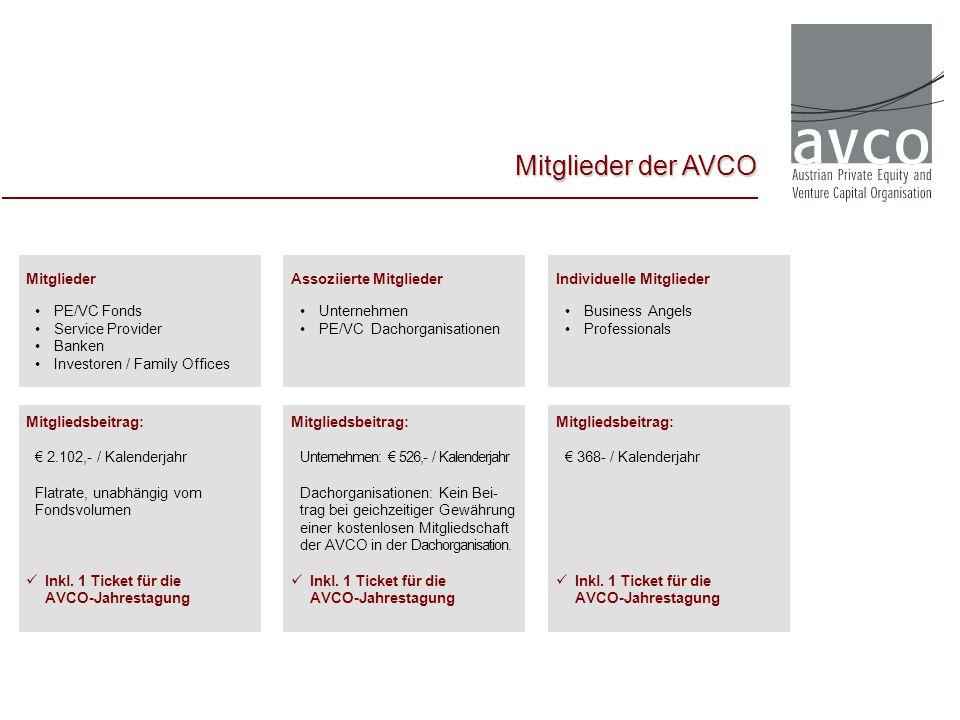 Mitglieder der AVCO Mitglieder PE/VC Fonds Service Provider Banken Investoren / Family Offices Assoziierte Mitglieder Unternehmen PE/VC Dachorganisati