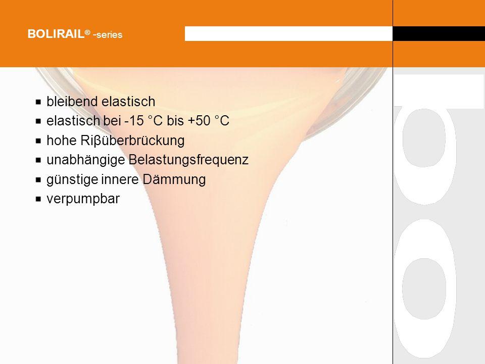 bleibend elastisch elastisch bei -15 °C bis +50 °C hohe Riβüberbrückung unabhängige Belastungsfrequenz günstige innere Dämmung verpumpbar BOLIRAIL ® -