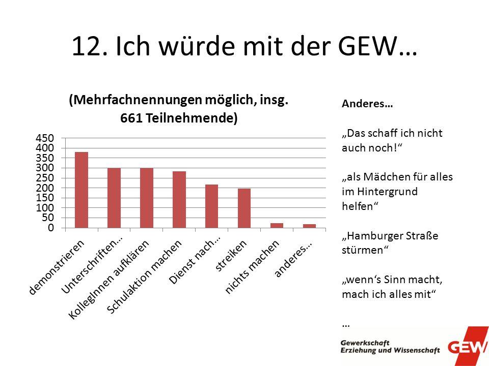 """12. Ich würde mit der GEW… Anderes… """"Das schaff ich nicht auch noch!"""" """"als Mädchen für alles im Hintergrund helfen"""" """"Hamburger Straße stürmen"""" """"wenn's"""
