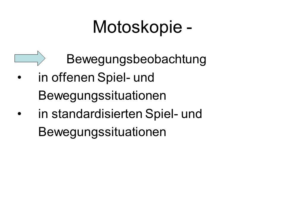 Motoskopie - Bewegungsbeobachtung in offenen Spiel- und Bewegungssituationen in standardisierten Spiel- und Bewegungssituationen