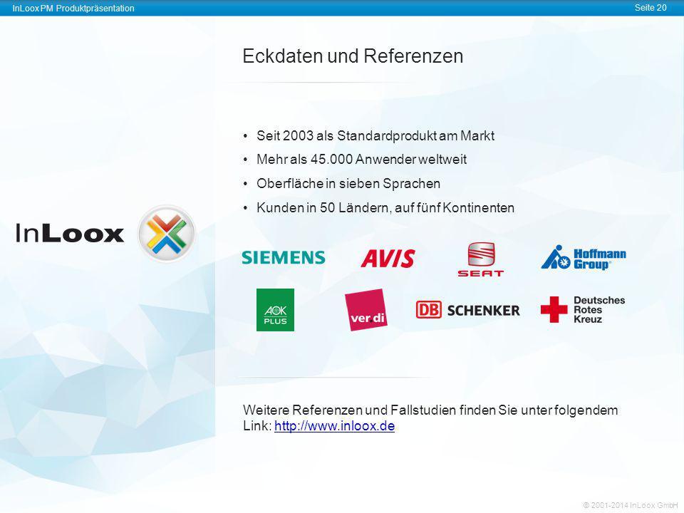 InLoox PM Produktpräsentation Seite 20 © 2001-2014 InLoox GmbH Eckdaten und Referenzen Seit 2003 als Standardprodukt am Markt Mehr als 45.000 Anwender