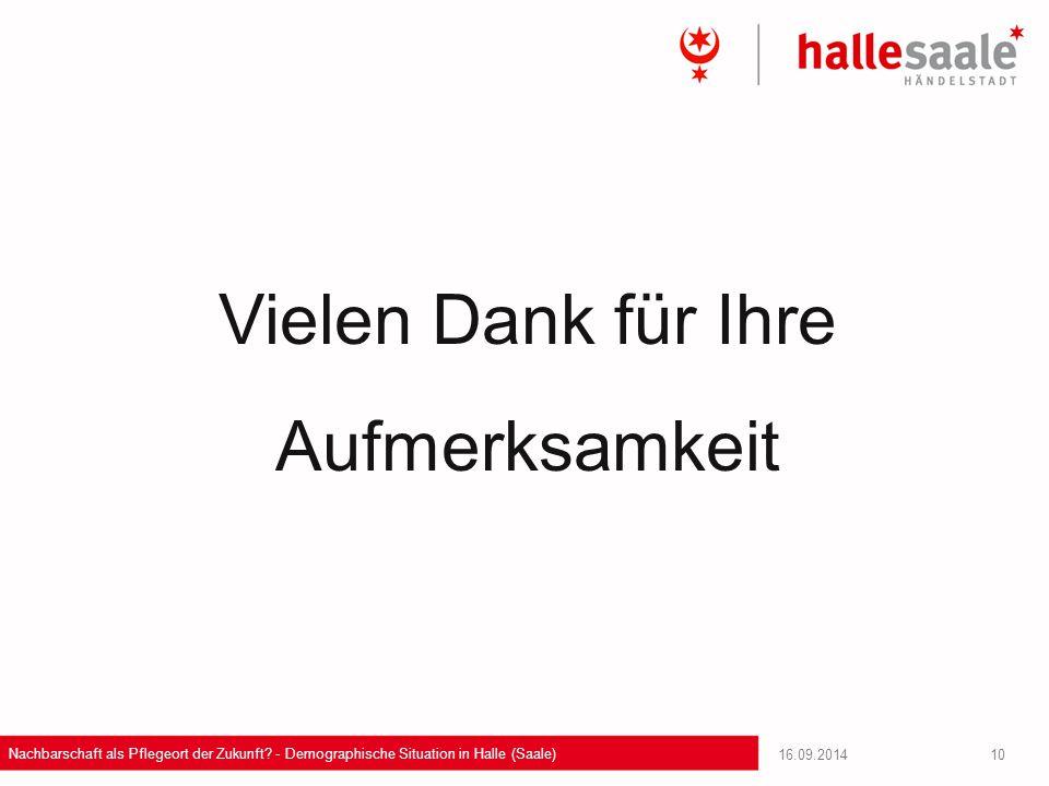 16.09.2014 Nachbarschaft als Pflegeort der Zukunft? - Demographische Situation in Halle (Saale) 10 Vielen Dank für Ihre Aufmerksamkeit