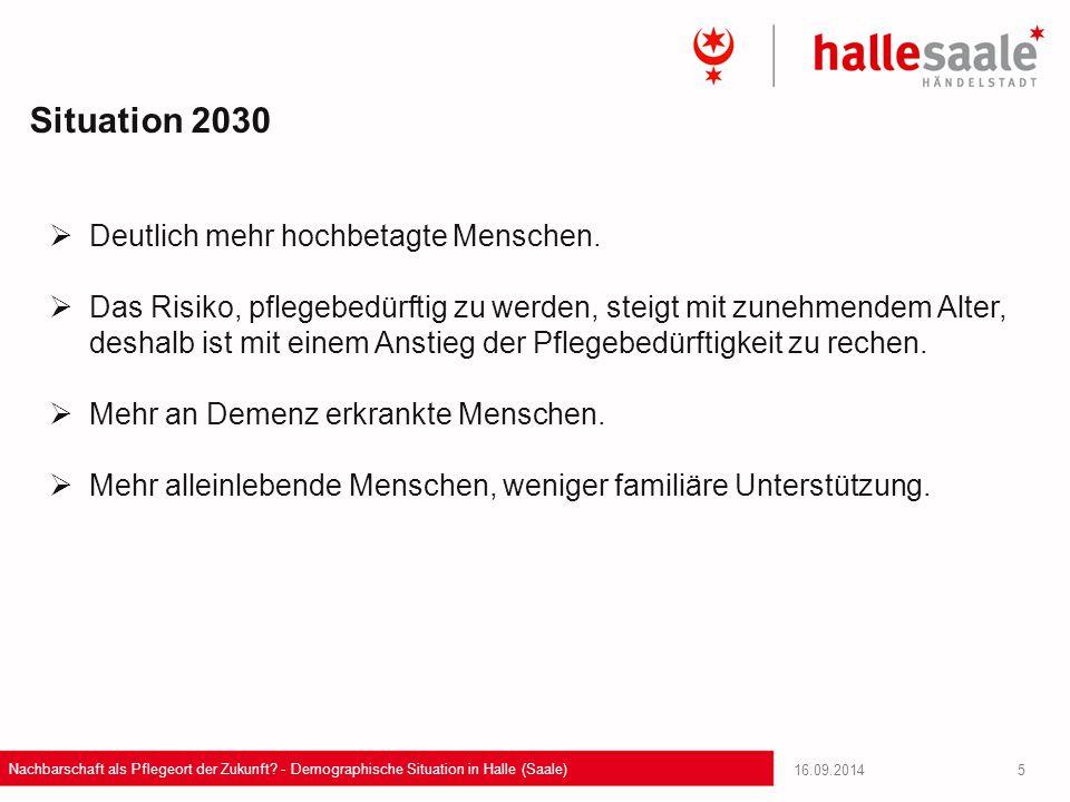 16.09.2014 Nachbarschaft als Pflegeort der Zukunft? - Demographische Situation in Halle (Saale) 5  Deutlich mehr hochbetagte Menschen.  Das Risiko,
