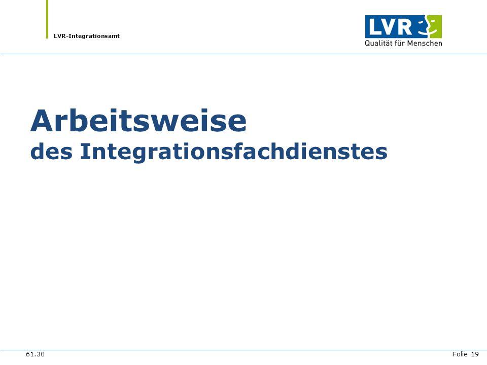 LVR-Integrationsamt Arbeitsweise des Integrationsfachdienstes 61.30 Folie 19