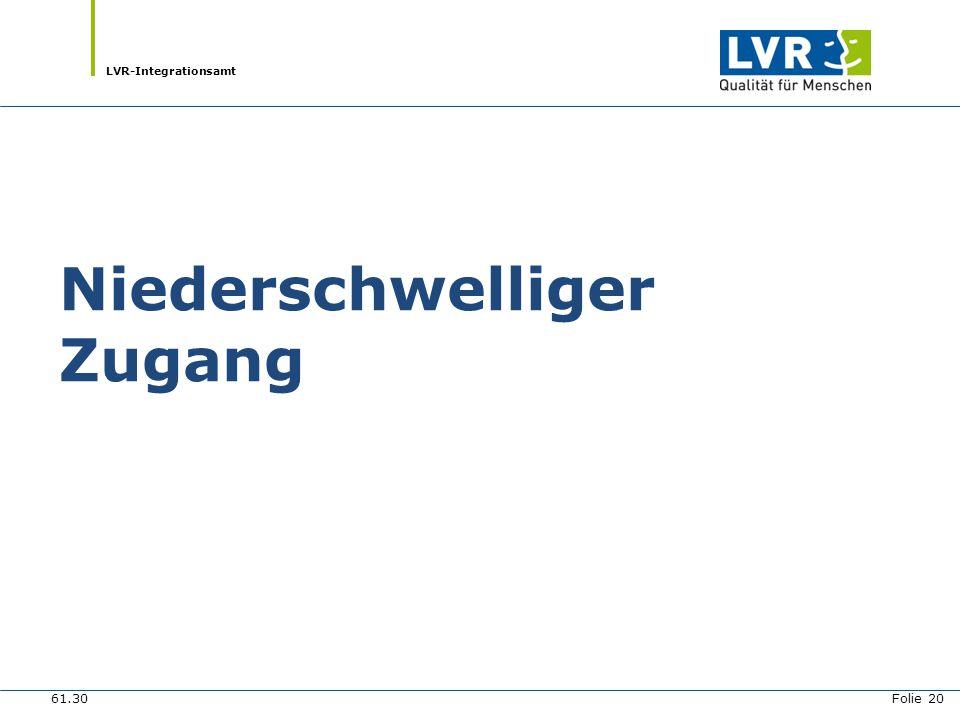 LVR-Integrationsamt Niederschwelliger Zugang 61.30 Folie 20