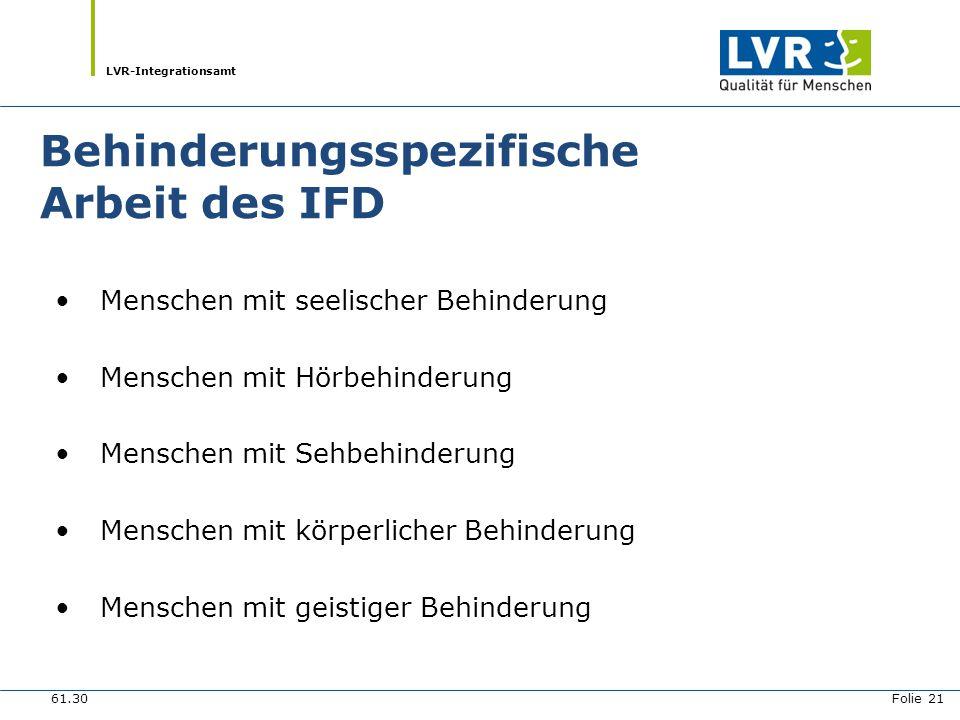 LVR-Integrationsamt Behinderungsspezifische Arbeit des IFD Menschen mit seelischer Behinderung Menschen mit Hörbehinderung Menschen mit Sehbehinderung