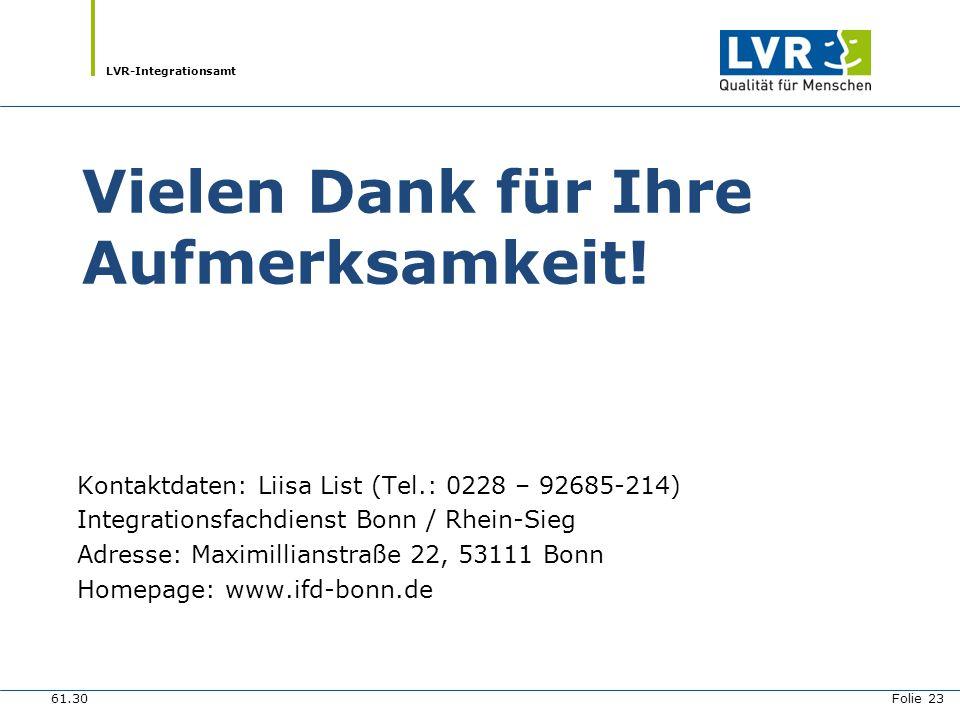 LVR-Integrationsamt Vielen Dank für Ihre Aufmerksamkeit! Kontaktdaten: Liisa List (Tel.: 0228 – 92685-214) Integrationsfachdienst Bonn / Rhein-Sieg Ad