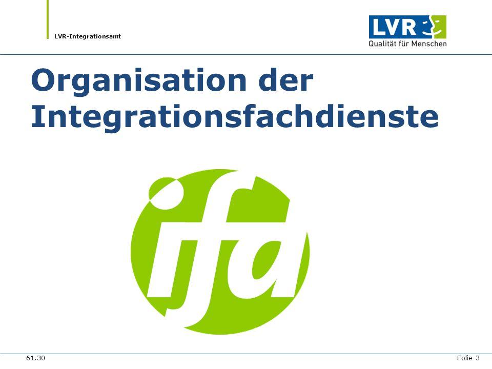 LVR-Integrationsamt Organisation der Integrationsfachdienste 61.30 Folie 3