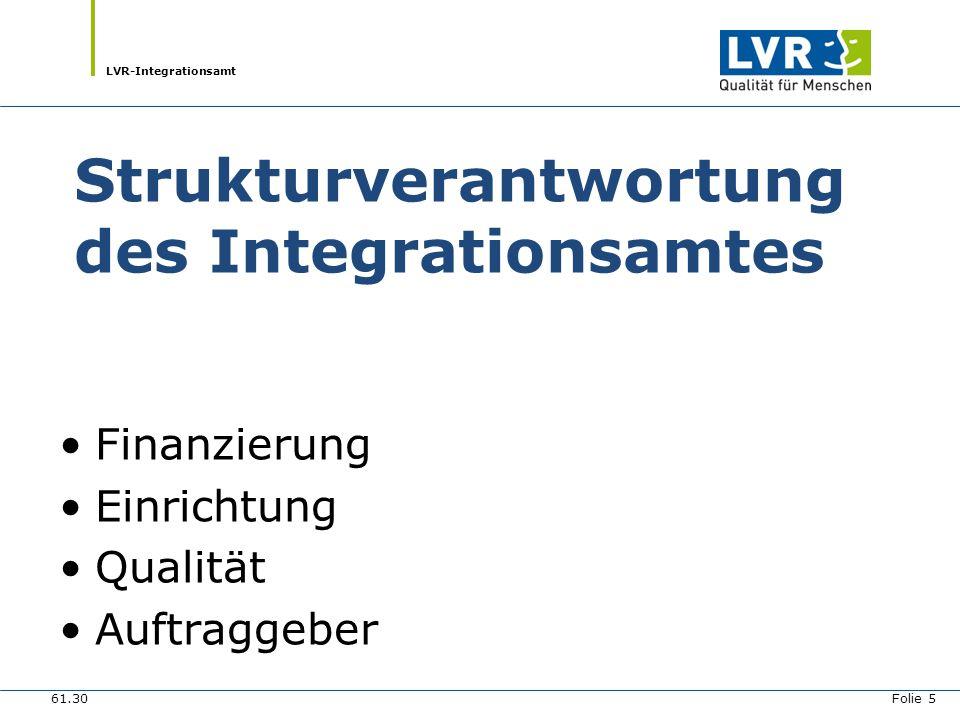 LVR-Integrationsamt Strukturverantwortung des Integrationsamtes Finanzierung Einrichtung Qualität Auftraggeber 61.30 Folie 5