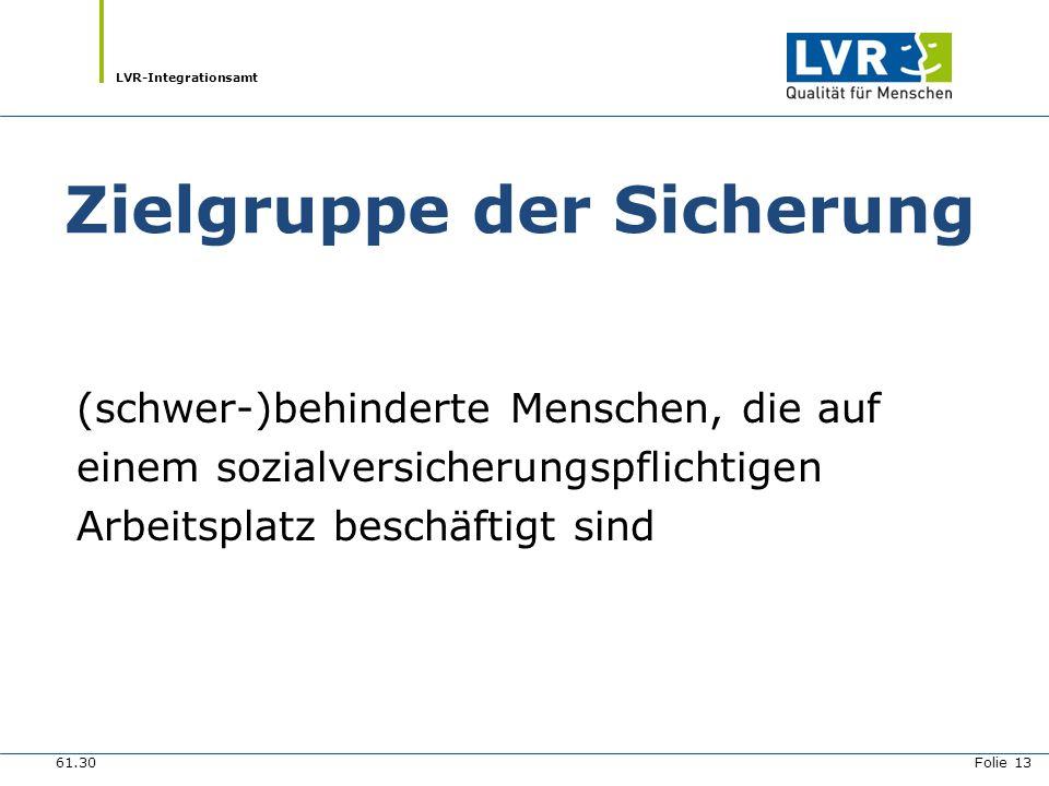 LVR-Integrationsamt Aufgaben der Sicherung Beratung und Begleitung von Arbeitnehmern und deren Arbeitgebern 61.30 Folie 14