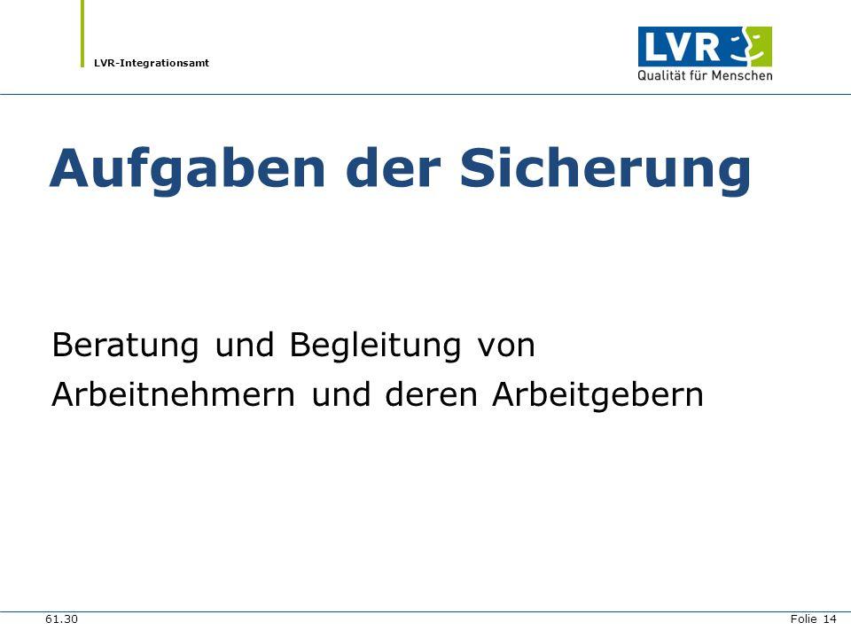 LVR-Integrationsamt Ziele Beschäftigungsverhältnis sichern Unterstützung des AG und AN bei der Beantragung von Mitteln aus der Ausgleichsabgabe (Minderleistungsausgleich, Personelle Unterstützung) Schutz vor Kündigung/ Arbeitslosigkeit 61.30 Folie 15