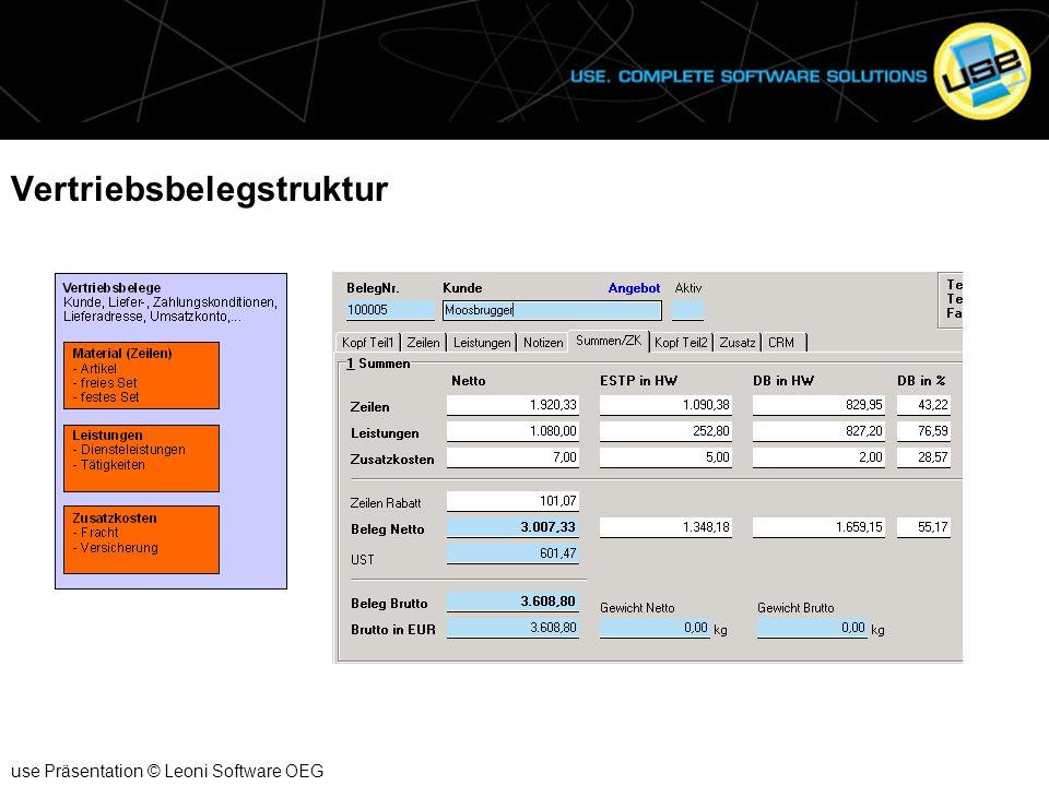 Formularsteuerung und Alternativ Artikel use Präsentation © Leoni Software OEG