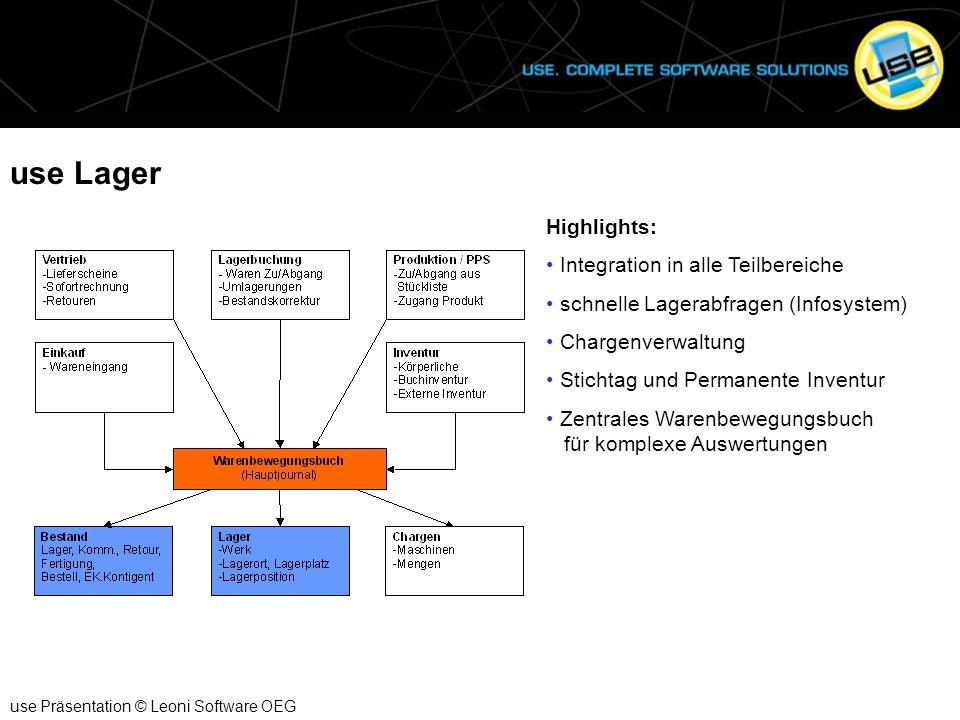 use Lager use Präsentation © Leoni Software OEG Highlights: Integration in alle Teilbereiche schnelle Lagerabfragen (Infosystem) Chargenverwaltung Sti
