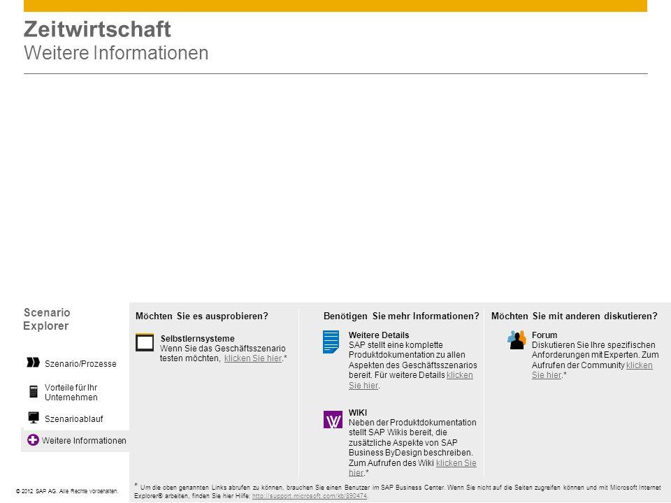©© 2012 SAP AG. Alle Rechte vorbehalten. Weitere Informationen Zeitwirtschaft Weitere Informationen Scenario Explorer Vorteile für Ihr Unternehmen Sze