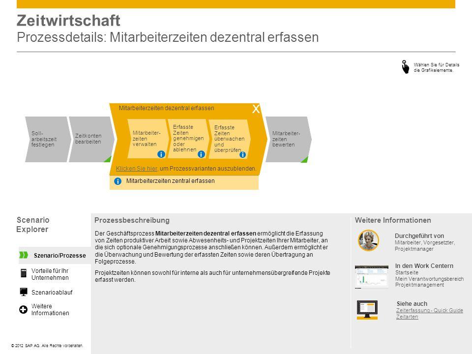 ©© 2012 SAP AG. Alle Rechte vorbehalten. Scenario Explorer ProzessbeschreibungWeitere Informationen Wählen Sie für Details die Grafikelemente. Zeitwir