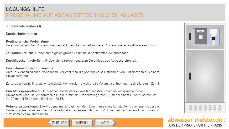 © 2014 LÖSUNGSHILFE PROBENAHME AUF ABWASSERTECHNISCHEN ANLAGEN 3. Probenahmearten (3) Durchschnittsproben Kontinuierliche Probenahme: Unter kontinuier