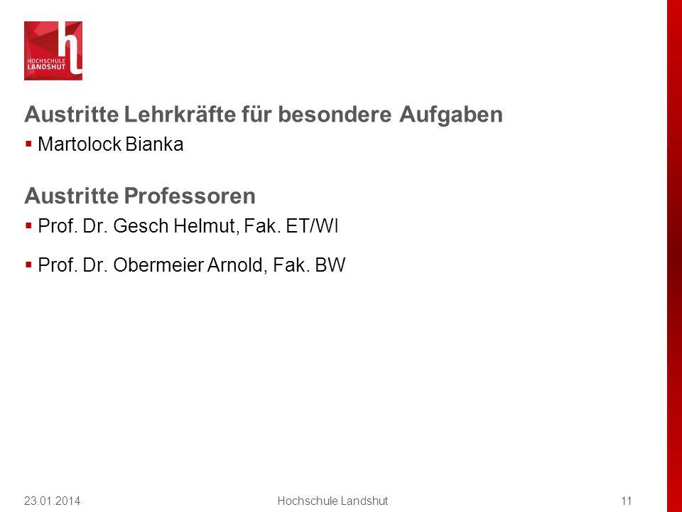 Austritte Lehrkräfte für besondere Aufgaben  Martolock Bianka 23.01.201411Hochschule Landshut Austritte Professoren  Prof.