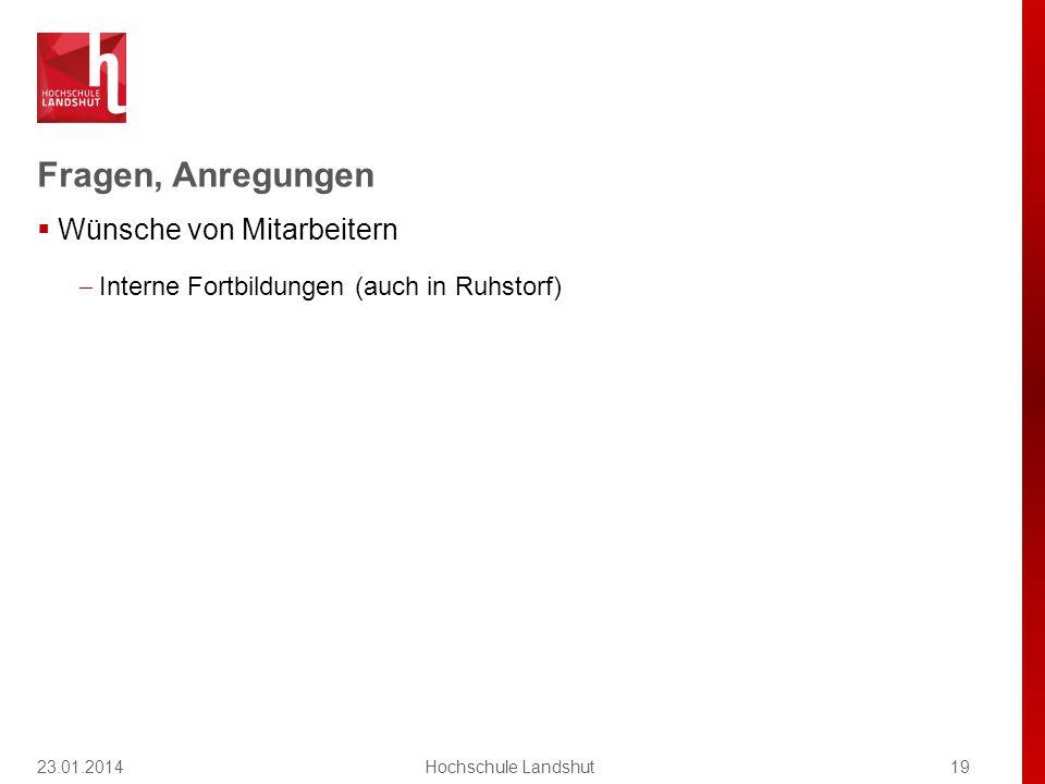 Fragen, Anregungen 23.01.201419Hochschule Landshut  Wünsche von Mitarbeitern  Interne Fortbildungen (auch in Ruhstorf)