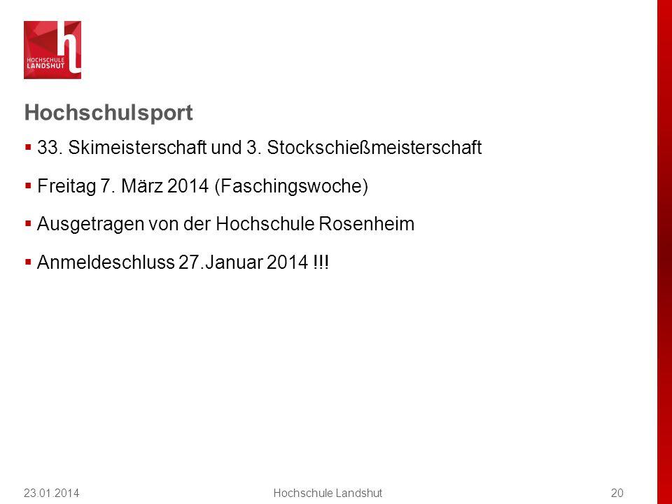 Hochschulsport 23.01.201420Hochschule Landshut  33.