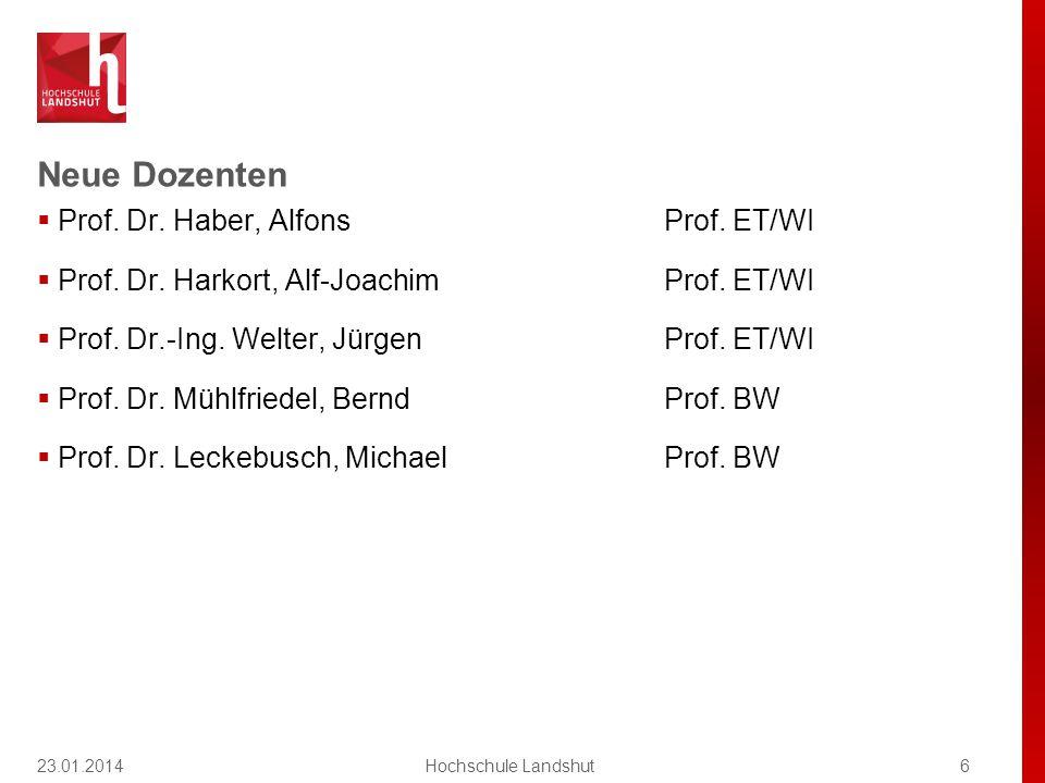 Neue Dozenten  Prof.Dr. Haber, AlfonsProf. ET/WI  Prof.