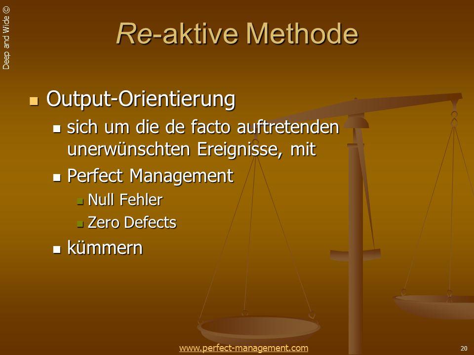 Deep and Wide © 20 Re-aktive Methode Output-Orientierung Output-Orientierung sich um die de facto auftretenden unerwünschten Ereignisse, mit sich um die de facto auftretenden unerwünschten Ereignisse, mit Perfect Management Perfect Management Null Fehler Null Fehler Zero Defects Zero Defects kümmern kümmern www.perfect-management.com