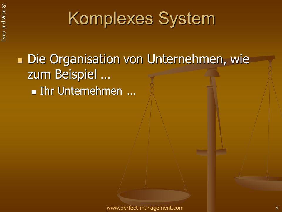 Deep and Wide © 9 Komplexes System Die Organisation von Unternehmen, wie zum Beispiel … Die Organisation von Unternehmen, wie zum Beispiel … Ihr Unternehmen … Ihr Unternehmen … www.perfect-management.com