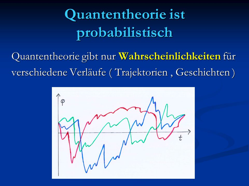 Quantentheorie ist probabilistisch Quantentheorie gibt nur Wahrscheinlichkeiten für verschiedene Verläufe ( Trajektorien, Geschichten )