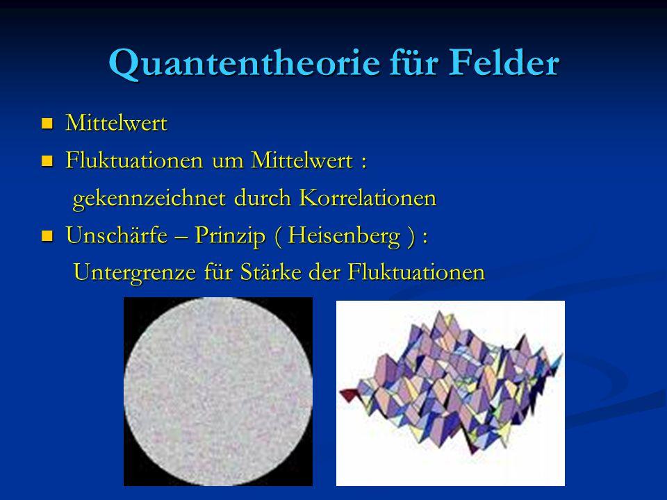 Quantentheorie für Felder Mittelwert Mittelwert Fluktuationen um Mittelwert : Fluktuationen um Mittelwert : gekennzeichnet durch Korrelationen gekennz