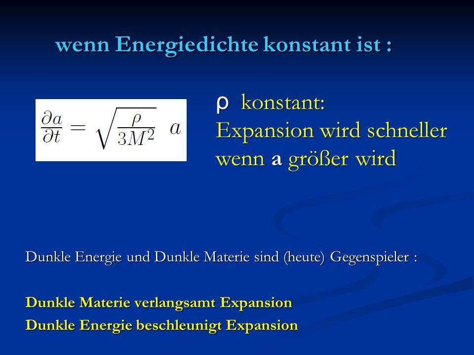 wenn Energiedichte konstant ist : Dunkle Energie und Dunkle Materie sind (heute) Gegenspieler : Dunkle Materie verlangsamt Expansion Dunkle Energie be
