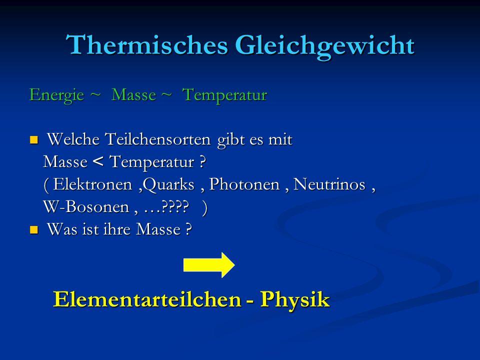 Thermisches Gleichgewicht Energie ~ Masse ~ Temperatur Welche Teilchensorten gibt es mit Welche Teilchensorten gibt es mit Masse < Temperatur ? Masse