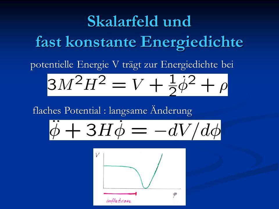 Skalarfeld und fast konstante Energiedichte potentielle Energie V trägt zur Energiedichte bei flaches Potential : langsame Änderung
