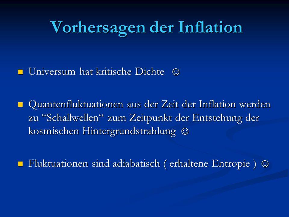 Vorhersagen der Inflation Vorhersagen der Inflation Universum hat kritische Dichte ☺ Universum hat kritische Dichte ☺ Quantenfluktuationen aus der Zei