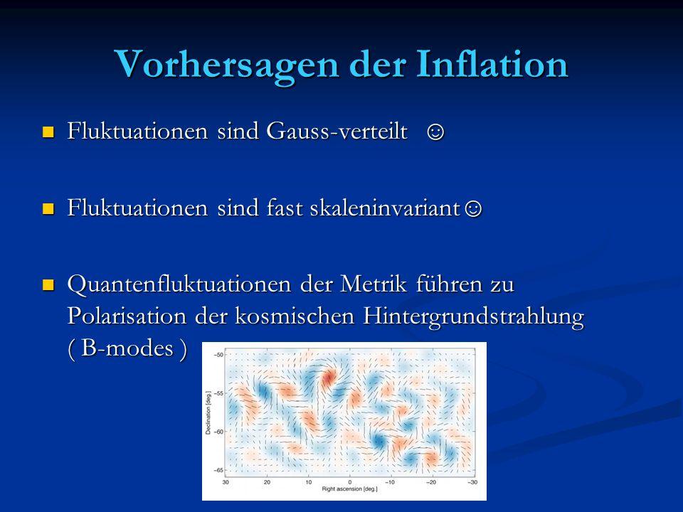 Vorhersagen der Inflation Fluktuationen sind Gauss-verteilt ☺ Fluktuationen sind Gauss-verteilt ☺ Fluktuationen sind fast skaleninvariant☺ Fluktuation