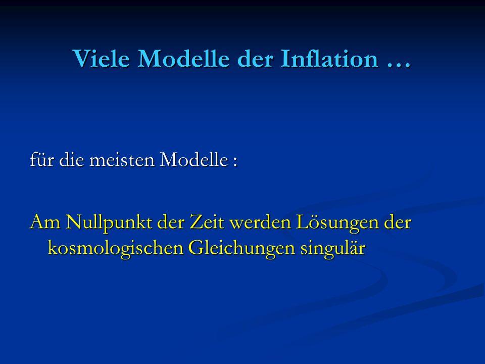 Viele Modelle der Inflation … für die meisten Modelle : Am Nullpunkt der Zeit werden Lösungen der kosmologischen Gleichungen singulär