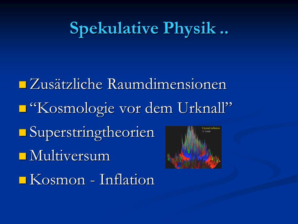 """Spekulative Physik.. Zusätzliche Raumdimensionen Zusätzliche Raumdimensionen """"Kosmologie vor dem Urknall"""" """"Kosmologie vor dem Urknall"""" Superstringtheo"""