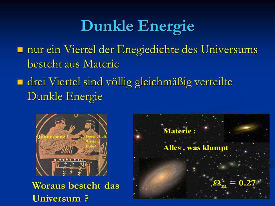Dunkle Energie nur ein Viertel der Enegiedichte des Universums besteht aus Materie nur ein Viertel der Enegiedichte des Universums besteht aus Materie